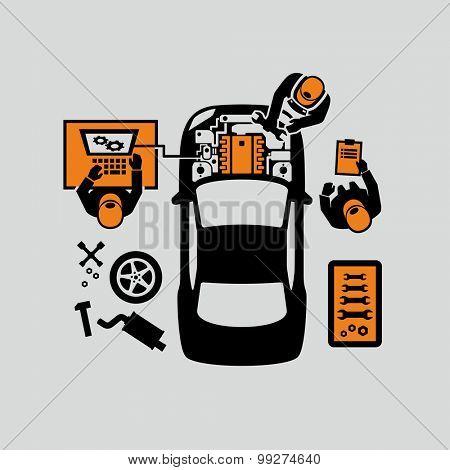 Mechanics Repair Car Engine