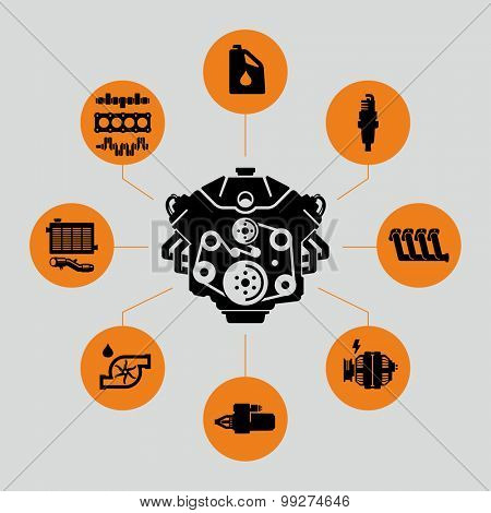 Vector Car Engine Parts Icons