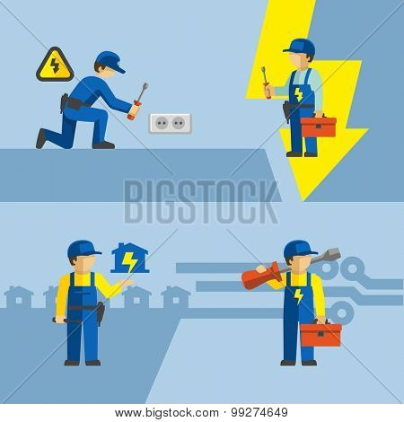 Vector Electrician Worker With Tools Installing Wall Socket