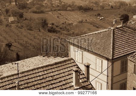 Taly. Tuscany Region. Montepulciano Town. In Sepia Toned. Retro Style