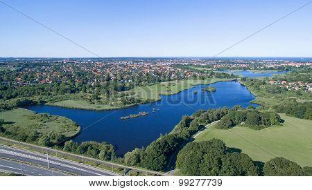 Aerial View Of Utterslev Mire, Denmark