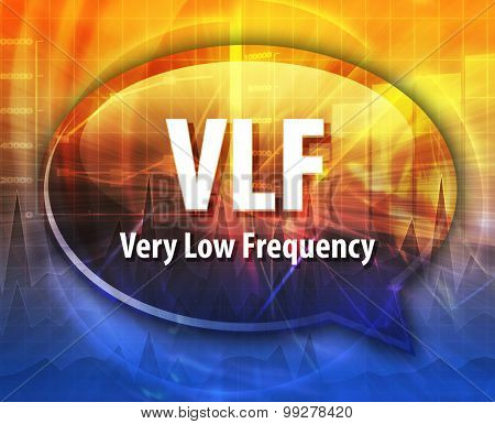 Speech bubble illustration of information technology acronym abbreviation term definition VLF Very Low Frequency