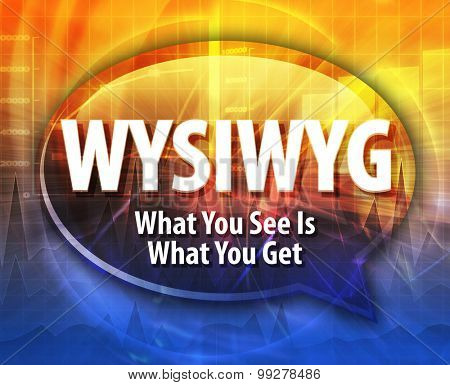 Speech bubble illustration of information technology acronym abbreviation term definition WYSIWYG What You See Is What You Get poster