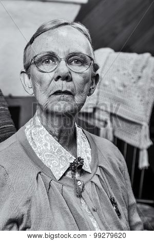 Old Woman Sitting Straight