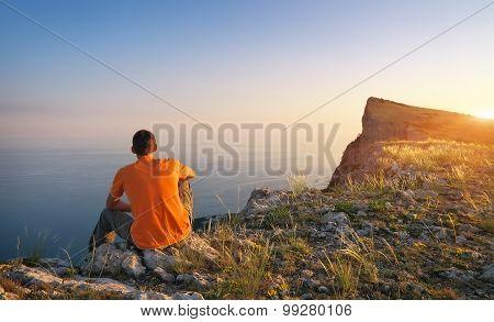 Man on top of mountain. Conceptual design.