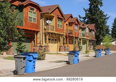Row of modern houses in suburban neighborhood poster