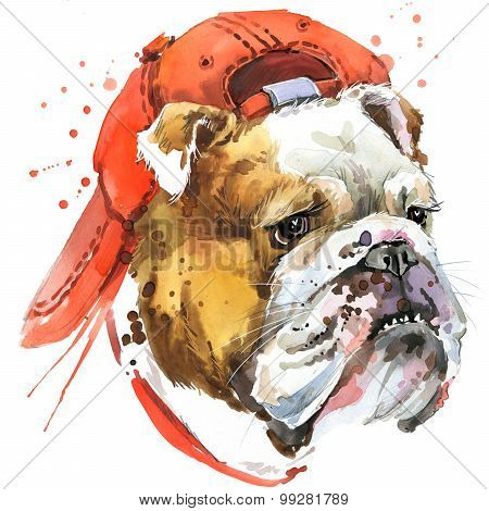 Dog Bulldog T-shirt graphics. dog Bulldog illustration with splash watercolor textured background. u