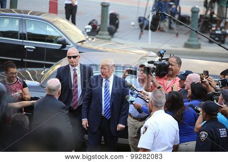Candidate Trump arrives at 60 Centre St