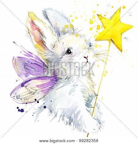 Bunny fairy T-shirt graphics. bunny fairy illustration with splash watercolor textured background. u