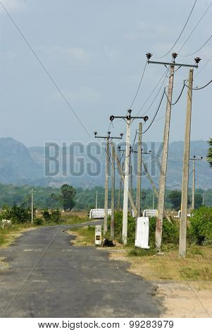Small Road With Powerlines