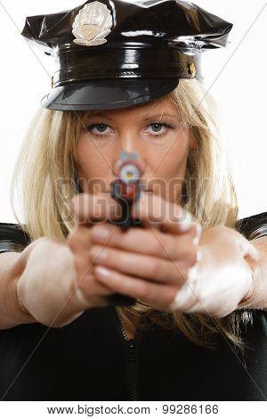 Policewoman Cop With Gun