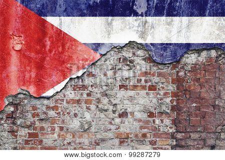Cuban Flag On Grungy Wall