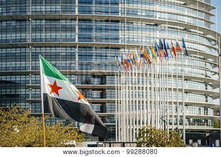 Syrian flag with All European Union Flag