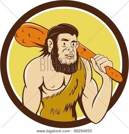 Neanderthal Man Holding Club Circle Cartoon