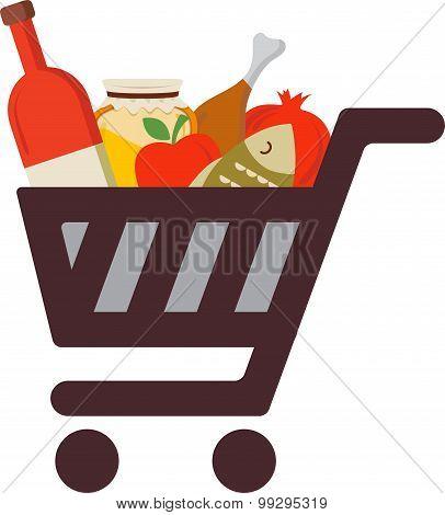 Shopping cart with rosh hashanah traditional food. Jewish holiday. Vector illustration