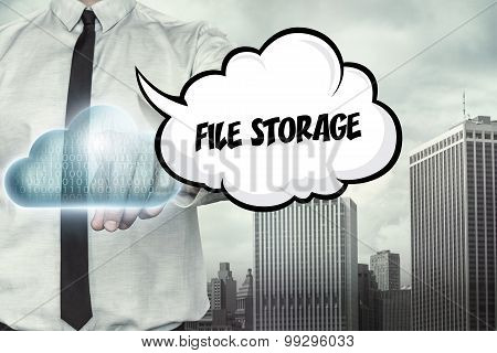 File storage text on cloud computing theme with businessman