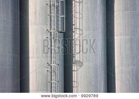 Detail Of Big Silo's Of A Dutch Factory