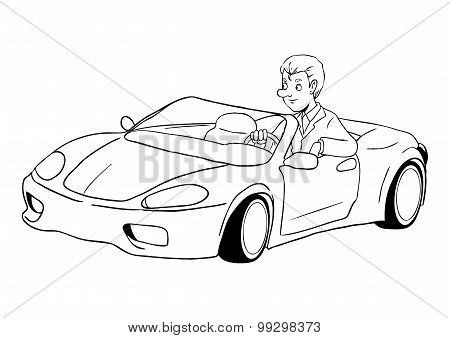 Businessman Driving A Sport Car