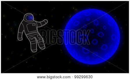 Spacewalk And Full Moon.
