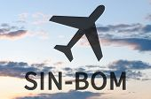 Airplane icon & inscription Sin-Bom. Blue sky for background. poster