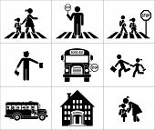 Safety of children in traffic. Children go to school. Pictogram icon set. Crossing the street. poster