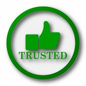 Trusted icon. Internet button on white background. poster