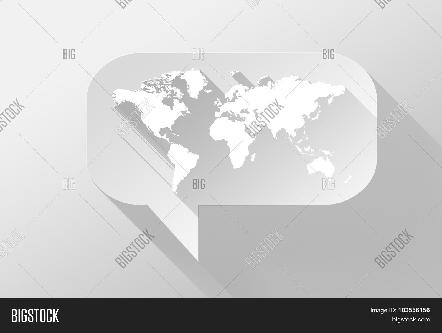 World map bubble image photo free trial bigstock world map in bubble speech widget and icon 3d illustration flat design gumiabroncs Choice Image