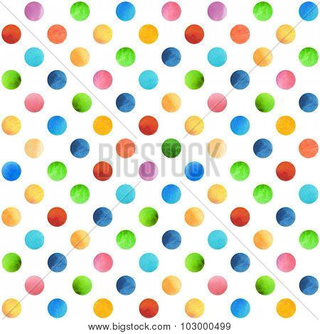 Seamless retro geometric pattern with polka dots. Colored ornament. Watercolor background, wrapping paper.