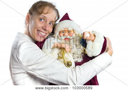 European woman embracing model of Santa Claus isolated on white background poster