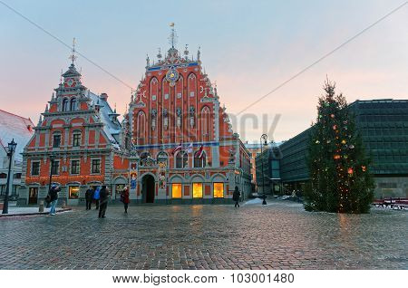 House Of The Blackheads In Riga At Dusk