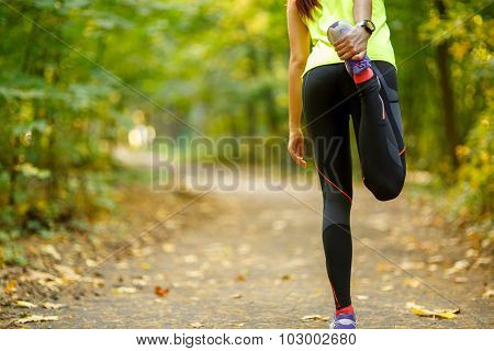 Young woman exercising and stretching muscles before sport activity in park