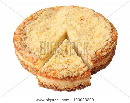 Curd Pie With Cut Piece
