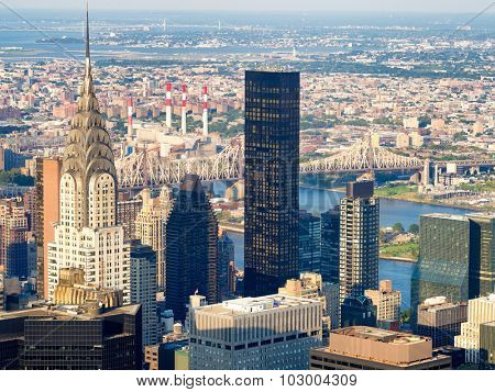NEW YORK,USA - AUGUST 15,2015 : Aerial view of New York including the Chrysler Building and the Queensboro Bridge