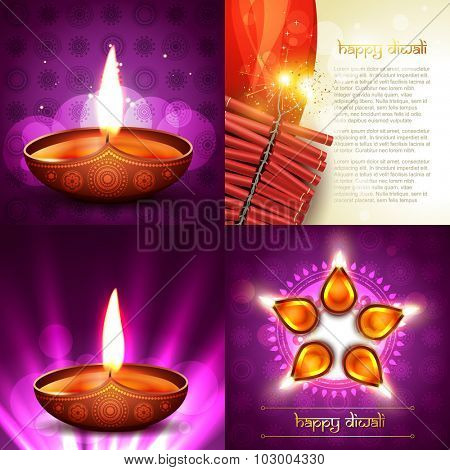 vector set of happy diwali background illustration with decorated diya placed on rangoli and crackers