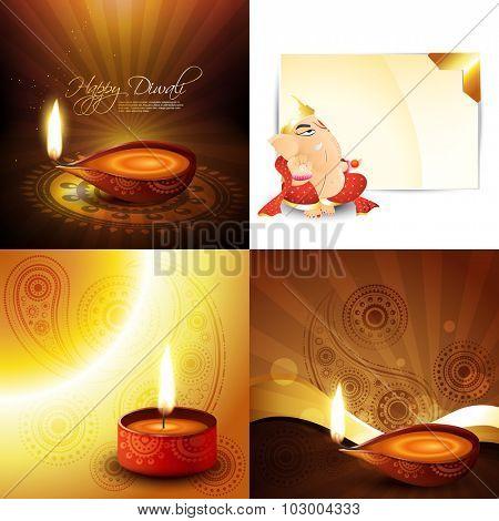 vector set of diwali holiday background festival of hindu, illustration of lord ganesha and beautiful diya