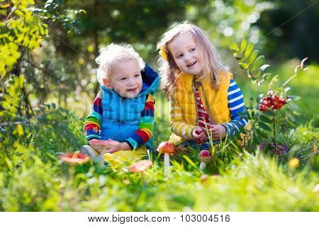 Kids Playing In Autumn Forest