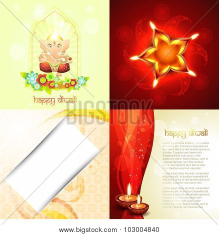 vector ccollection festival of diwali background with lord ganesha ,florals and decorated diya