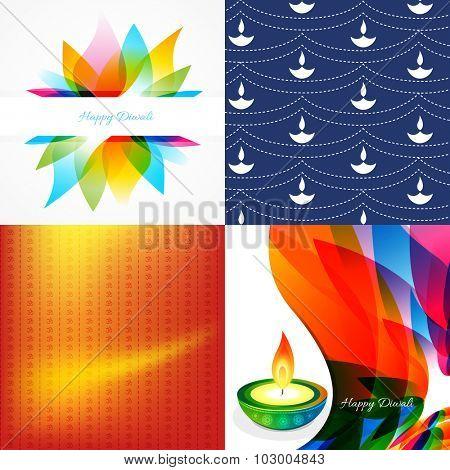 vector set of diwali holiday background with colorful diya, leaf illustration