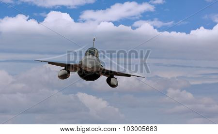 Fighter jet airborne with contrails