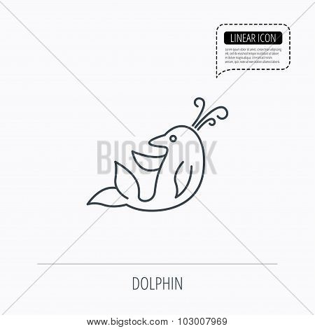 Dolphin icon. Cetacean mammal sign.