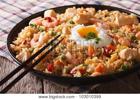 Nasi Goreng With Chicken, Shrimp And Vegetables Close-up Horizontal