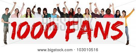 1000 Fans Likes Social Networking Media Sign Group Of Young People Holding Banner