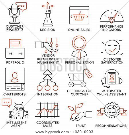 Vector Set Of 16 Icons Related To Business Management - part 15