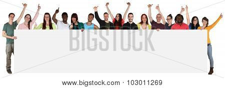 Large Group Of Young Multi Ethnic People Holding Empty Banner With Copyspace