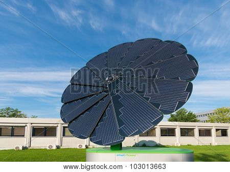 GRONINGEN NETHERLANDS - AUGUST 22 2015: Smart flower foldable solar collector on the groningen university area. The smart flower provides all the energy for the exterior lighting of the campus sports center