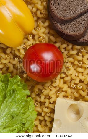 Bread, Macaroni And Vegetables