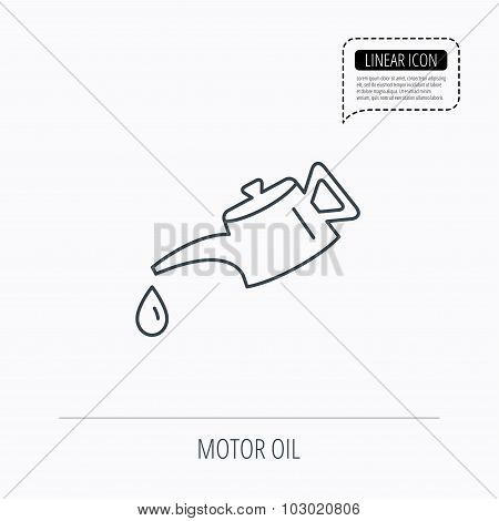 Motor oil icon. Fuel can with drop sign. Linear outline icon. Speech bubble of dotted line. Vector poster