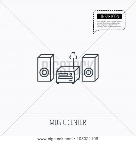 Music center icon. Stereo system sign.
