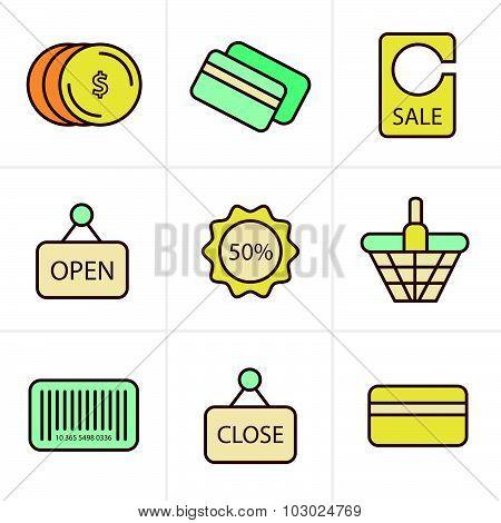 Icons Style Shopping Icon Set
