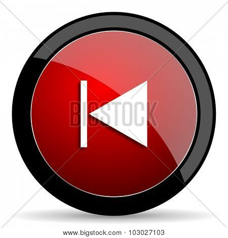 prev red circle glossy web icon on white background, round button for internet and mobile app